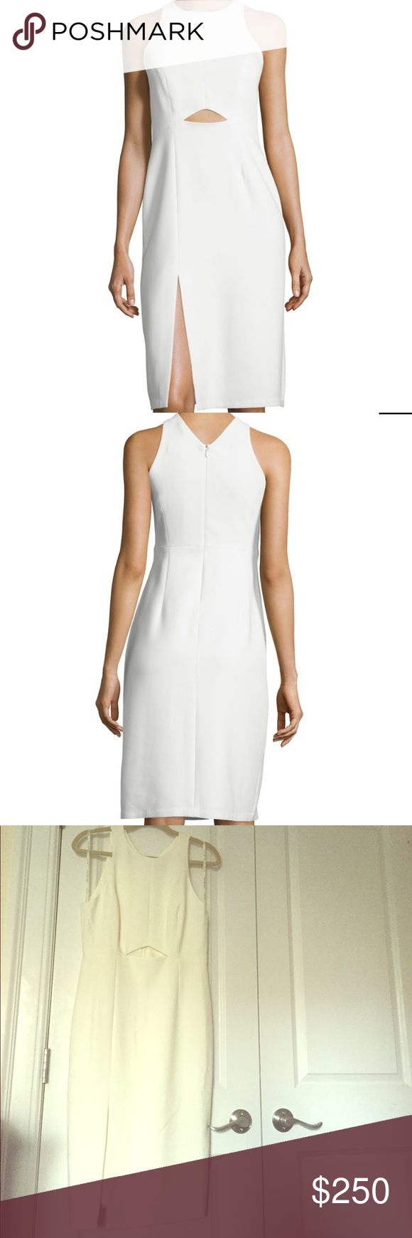 Sleeveless High-Neck Fitted Cutout Dress, Chalk Halston Heritage stretch-knit dress with front cutout. High jewel neckline; V'd back neck. Sleeveless; cut-in shoulders. Fitted silhouette. Thigh-high slit at right front hem. Hidden back zip. Polyester/viscose/spandex. Imported. Halston Heritage Dresses Midi