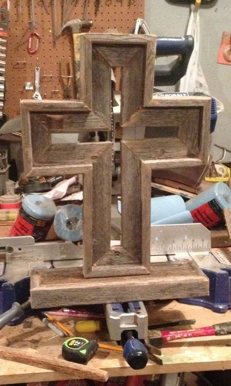Add stained glass to center of rustic cross