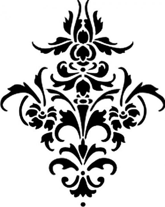 Vinyl Damask Flourish Decal can make a stencil to add this to a book shelf or wall art