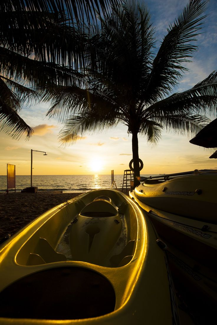 Kayak at sunset palm beach. Whether you're an experienced kayaker or a first-timer, you should try them at Phu Quoc Island. ------------