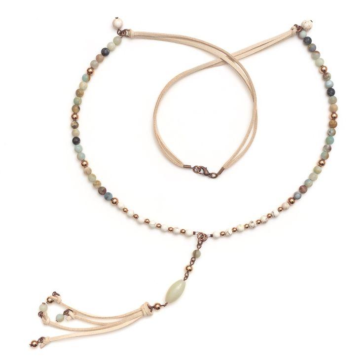 xada jewellery - Amalfi long Boho Stone bead necklace on suede, $67.95 (http://www.xadajewellery.com/shop-by-collection/xada-long-boho-stone-bead-necklace-on-suede/)