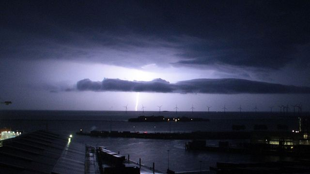 Copenhagen during lightning weather.