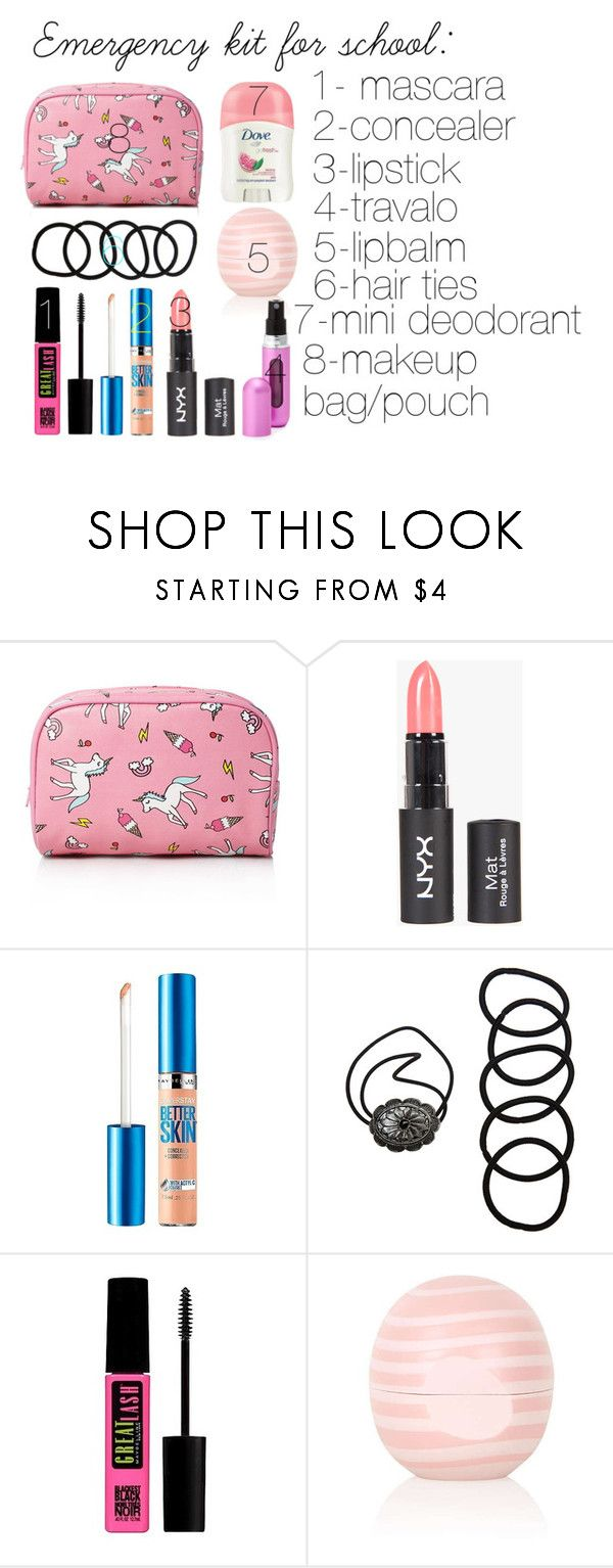 """Emergency kit for school"" by savrsenagospodjica ❤ liked on Polyvore featuring beauty, Forever 21, Maybelline, Wet Seal, Topshop and Travalo"