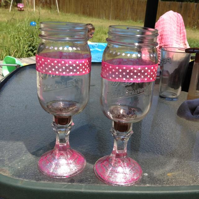 Mason Jar wine glasses - DIY