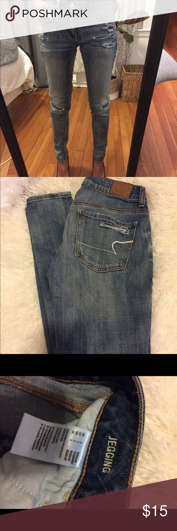 American Eagle Outfitters distressed jeans American Eagle Outfitters distressed light wash denim with cute lace patchwork detailing. American Eagle Outfitters Jeans Skinny
