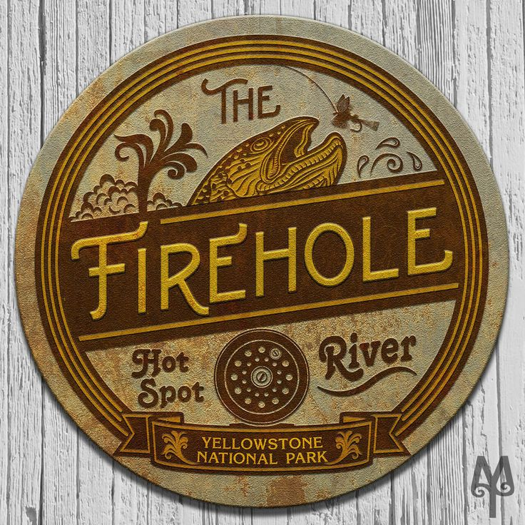The Firehole Hot Spot River, vintage, decorative metal wall sign made by Montana Treasures in Bozeman, Montana. Shop now! https://montana-treasures.com/collections/decorative-wall-signs/products/firehole-river-wall-sign
