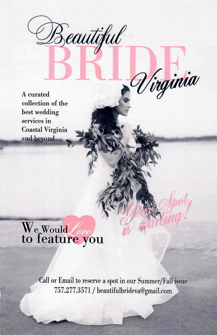 With over 10 years experience, Beautiful Bride at https://www.beautifulbride.club/ and Showbride are featuring the best wedding venues, bridal salons, event coordinators, event designers, photographers, florists, caterers , disc jockeys, makeup artists, and more in our area! Free to brides, over 100 pages, and distributed among salons, spas in the Greater Hampton Roads and all Showbride events. To reserve your space and inquire about rates, contact beautifulbrideva@gmail.com or call (757)…