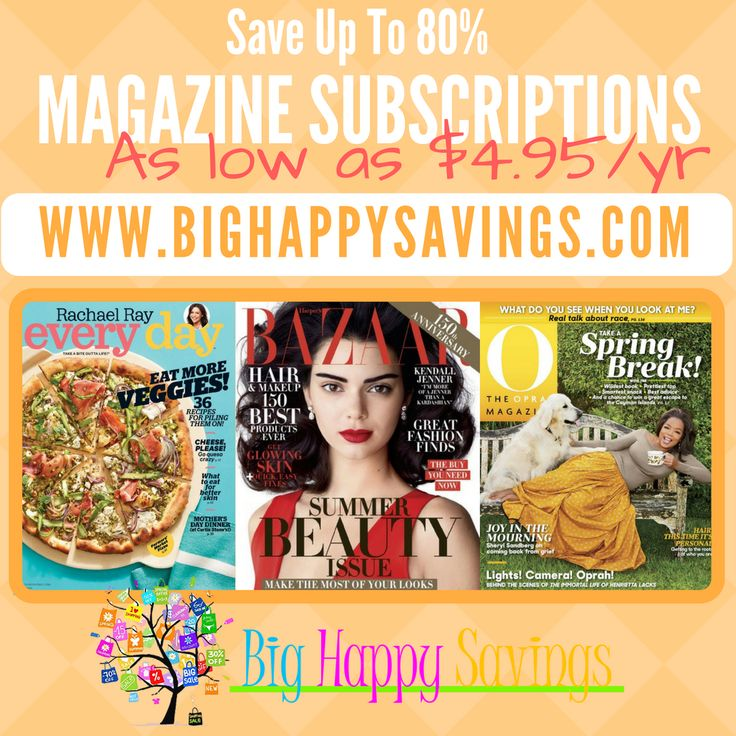 O Magazine, Everyday Rachel Ray and Harper's Bazaar-Cheap Magazine Subscriptions http://www.bighappysavings.com/blog/2017/05/09/o-magazine-everyday-rachel-ray-harpers-bazaar-cheap-magazine-subscriptions/ Click on the link below to find out more about this deals.  Check out http://www.bighappysavings.com to find more money saving deals  #Bighappysavings, #CheapSubscriptions, #CouponCommunity, #Magazine, #OMagazine