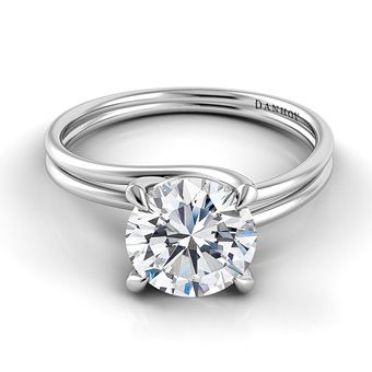Brides: 64 Engagement Rings Under $5,000: Style AE135, Danhov Abbraccio Swirl Engagement Ring - 18k with .75 carat center stone, $3,550, Danhov