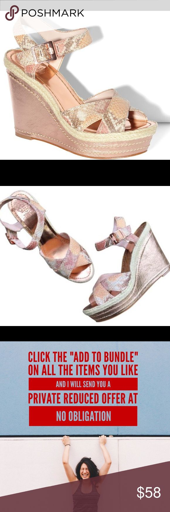 ✅HP✅NWT - Vince Camuto Edon Peach  Size 8 1/2 NWT - Vince Camuto Edon Peach Pearl sandals – Women's Size 8 1/2 -  Soft leather upper in a two piece dress wedge style. Rose Gold buckle, Soft leather lining. 1 1/2 inch platform;4 1/4 inch leather wrapped wedge heel. The foot bed is stamped with Vince Camuto logo, offers cushioning to ensure all-day comfort. This shoe elevates the style of capri pants, bermudas, or a shorter skirt.    Please ask all questions ✅Use Offer Button & Free Home…