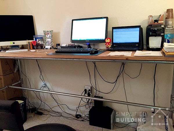 Standing Desk For The Home Office #KeeKlamp #DIY #standingdesk #pipedesk  #pipefurniture
