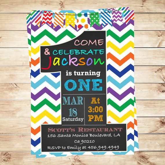 Rainbow Chevron One Rainbow First Birthday Invitation, Custom One Boy 1st…