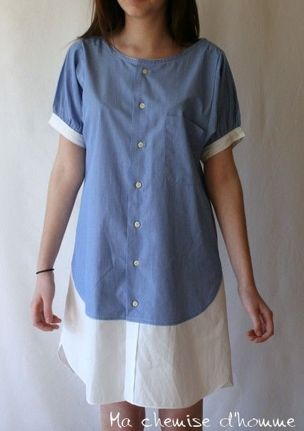 "Shirt dress "" Camilla "" Recycled mens' shirt - US 8 / EU 40. €100,00, via Etsy."