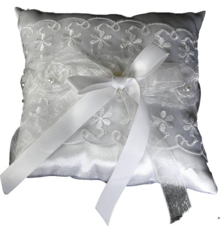 Rettangolare Anello cuscino 17 x 17 cm matrimonio piazza punte perline fiocco di raso bianco anello per la conservazione: Amazon.it: Gioielli