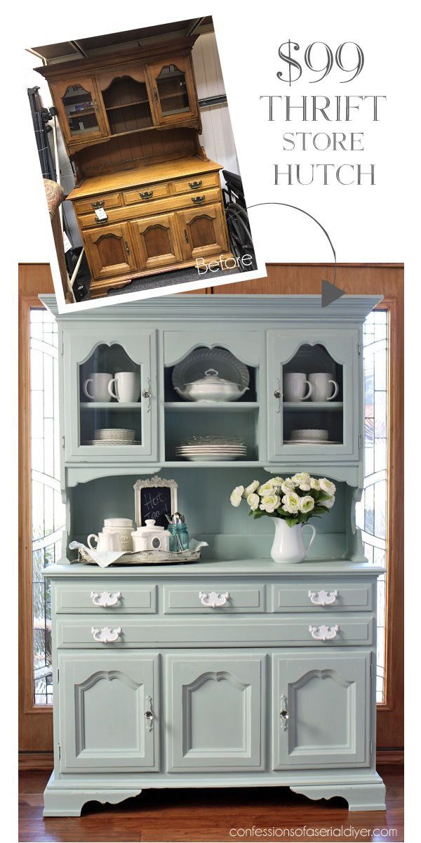 Thrift Store Hutch made over with Behr's Gray Morning (mixed 50/50 with white) made into chalk paint from http://confessionsofaserialdiyer.com