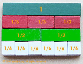 Cuisenaire rod fractions - sixths, thirds, halves, one