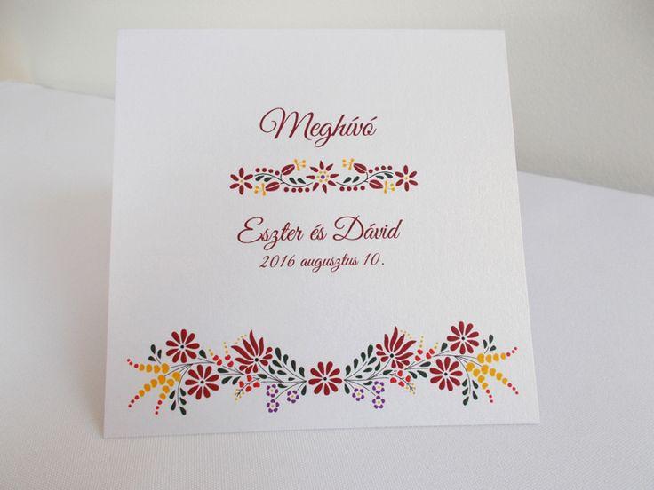 kalocsai mintás esküvői meghívó 08.1