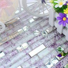 strip clear purple glass mixed stainless steel metal mosaic tile kitchen backsplash tile bathroom shower tile hallway border(China (Mainland))