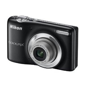 Nikon Coolpix L25 Digitalkamera schwarz (10 Megapixel, 5-fach opt. Zoom, 7,5 cm (3 Zoll) Display, bildstabilisiert) Kit inkl. 4GB-Speicherkarte und Tasche