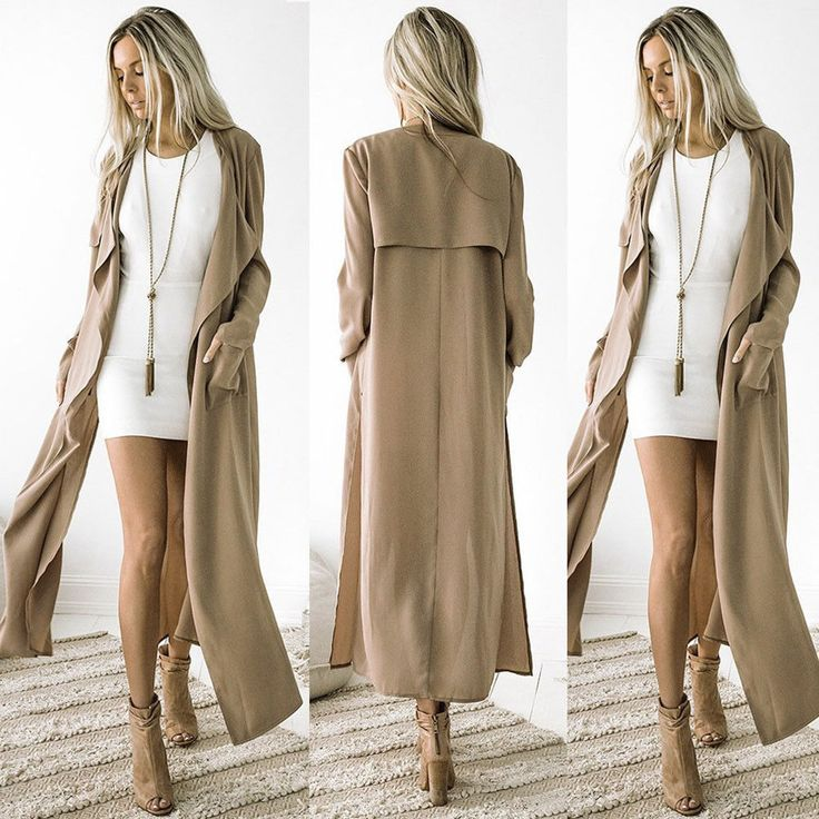 Hot Women Ladies Long Sleeve Cardigan Waterfall Jacket Outwear Long Maxi Coat