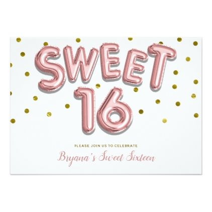 sweet 16 balloon rose gold dots party any color card minimal gifts