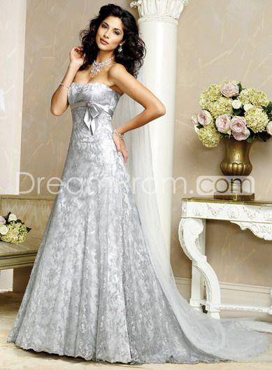 Gray Color Wedding Dresses Shinning Empire Tie Chapel Train