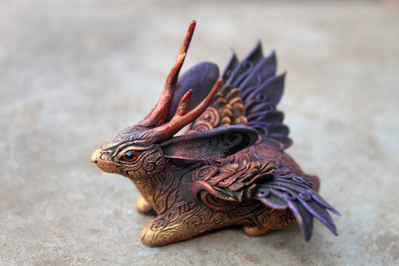 Winged Jackalope Sculpture Wolpertinger Rabbit Hare Bunny totem figurine Mascot Amulet gold purple dark.