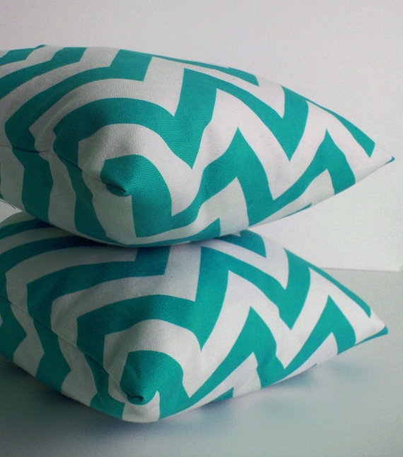 turquoise chevron pillows