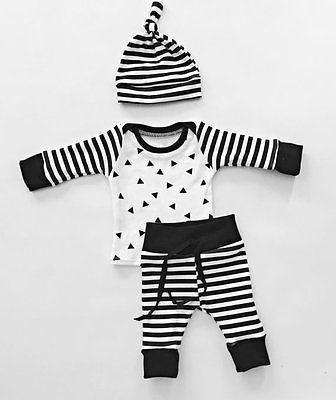 11e0e651f86f1 3PCS Newborn Baby Boy Girls Clothes Long Sleeve Cotton Deer T-shirt+ ...