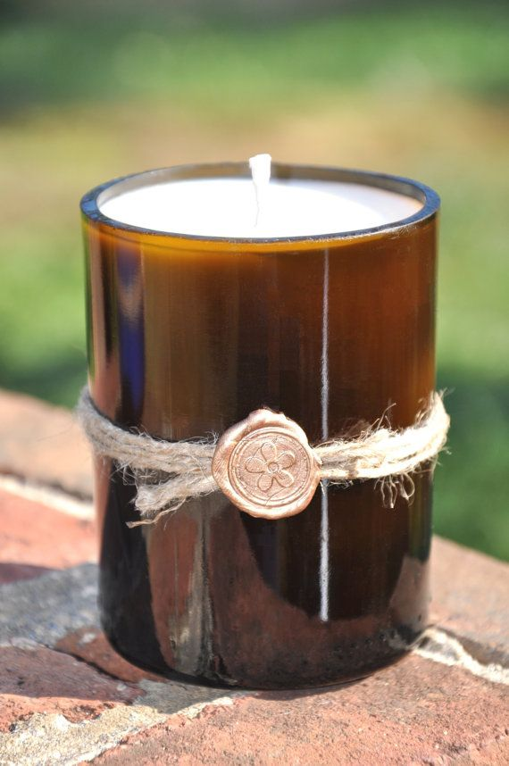 Recycled wine bottle candle standard size in ten by SignalMountain