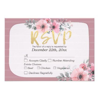 #wedding - #Modern Watercolor Floral Script Wedding RSVP Reply Card