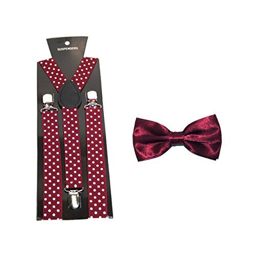(Findes i 8 varianter) Polka Dot Suspenders/Braces with Bow Tie - Maroon Robelli http://www.amazon.co.uk/dp/B00TR0WNA4/ref=cm_sw_r_pi_dp_21Z4wb155W1Z6