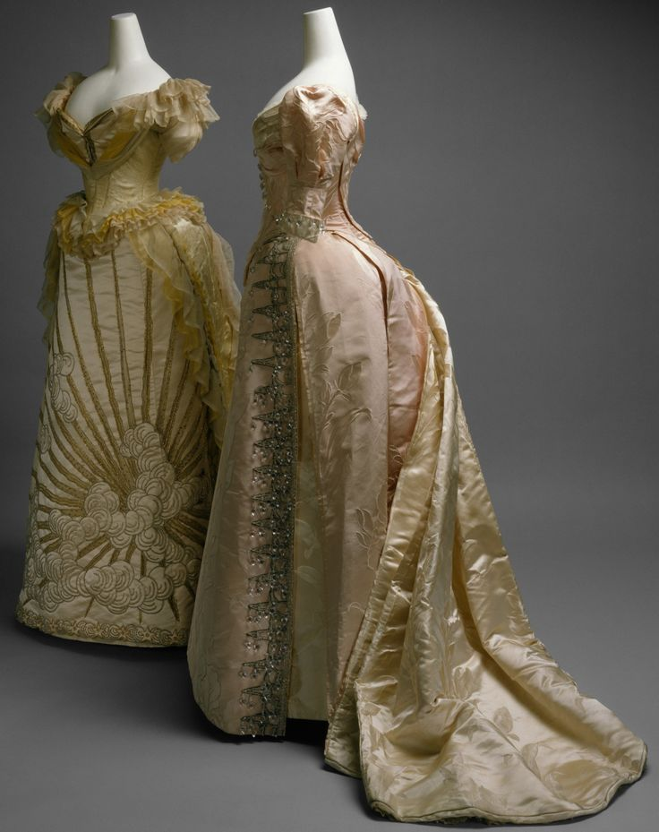 fashioninhistory: Evening Dresses House of Worth 1887 Both of these evening dresses provide examples of the quality of dressmaking for which Charles Frederick Worth and the House of Worth were renowned among society women worldwide by the last quarter of the nineteenth century.