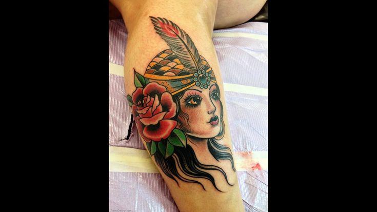 4678 american traditional tattoo tattoos girl head gypsy tattoo design