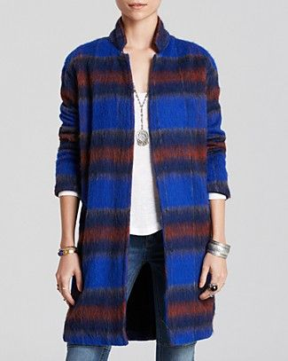 As seen on Sharon Horgan on Catastrophe: Free People Blue Plaid coat, $157, Bloomingdales.com