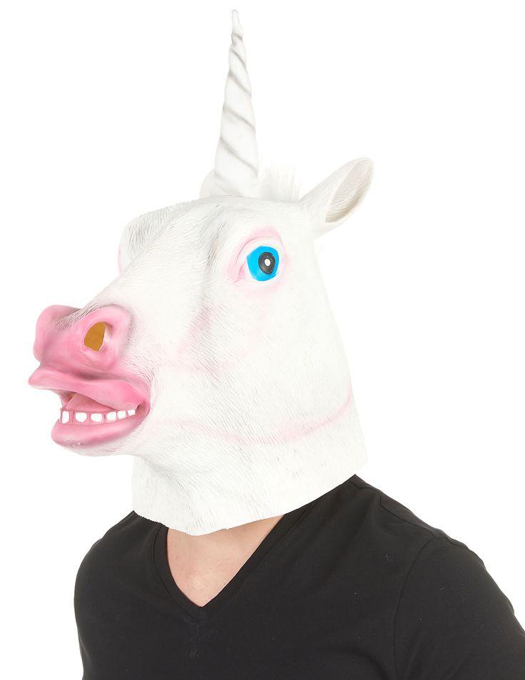 Masque licorne latex adulte : Ce masque intégral en latex est destiné aux adultes.Une licorne sortie tout droit d'un conte de fée ça vous tente? Le masque imite à la perfection la...