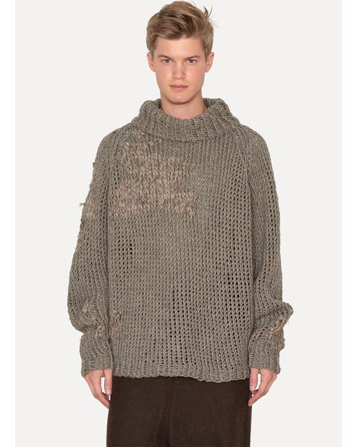 Jan Jan Van Essche | Natural Grey Yak Chunky Hand Knitted Turtleneck