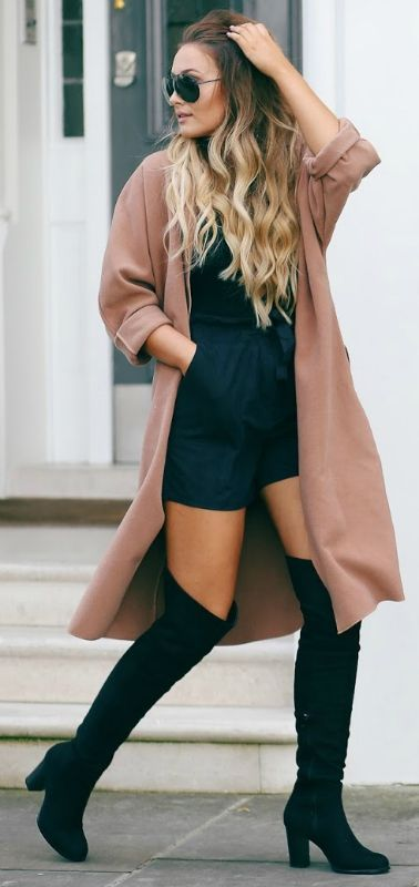 These sleek black over the knee boots look great with an oversized beige coat and shades. Via thatpommiegirl. Top, Shorts,Coat, Boots: Boohoo.
