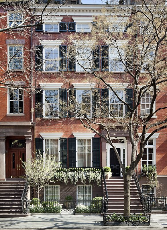 Gorgeous brick Greenwich Village townhouse lovingly renovated by Sawyer Berson, all in spring bloom.