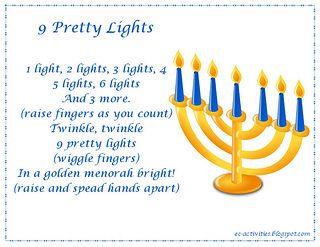 """9 Pretty Lights"" Hanukkah Fingerplay"