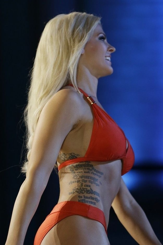 She's the first pageant contestant to bare her tattoos. Also a bow huntress, and expert M16 marked woman with the US Army