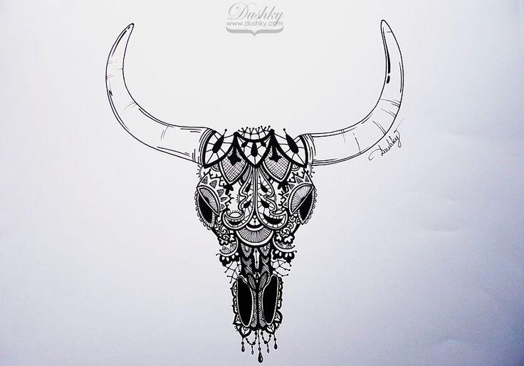 bull skull tattoo - Поиск в Google