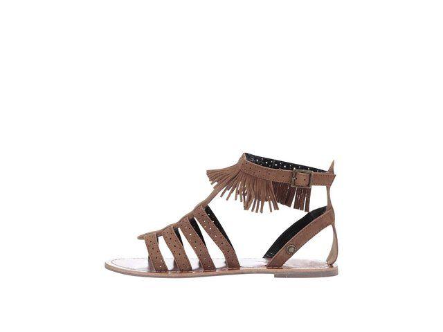 Hnědé dámské semišové sandálky s třásněmi Pepe Jeans -