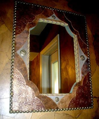 Tooled Leather & Cowhide Fancy Western Decor Wall Mirror | Western Decor by Signature Cowboy