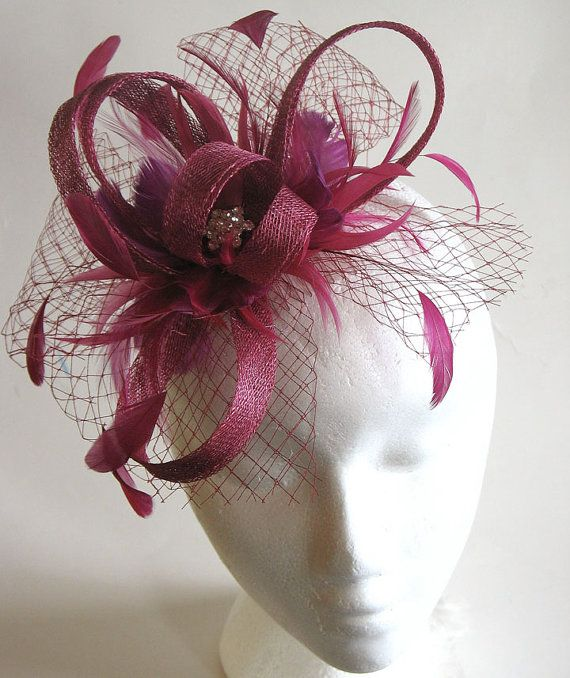 Fuschia sinamay fascinator by alicehartcouture on Etsy, $95.00