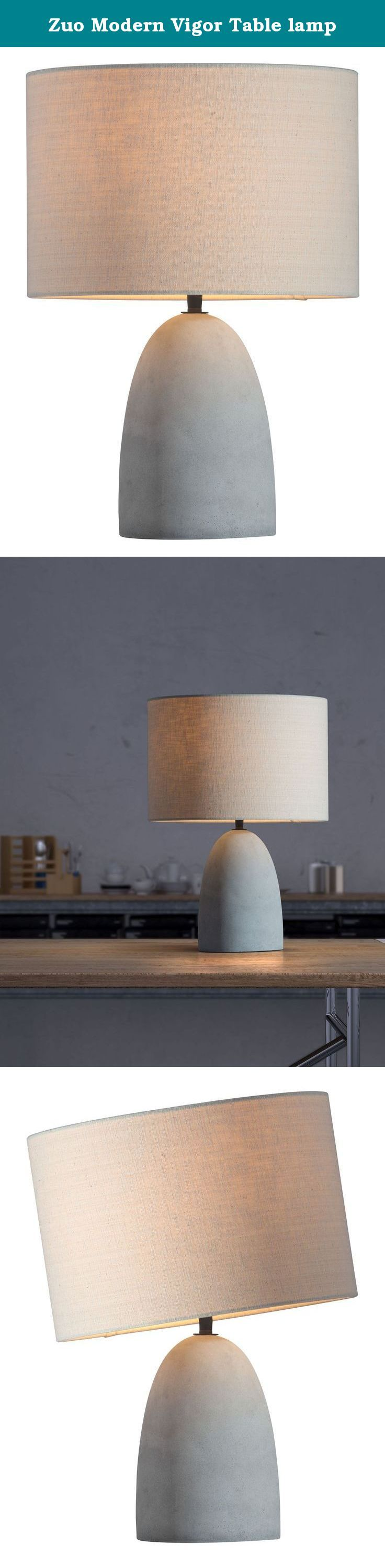 Zuo Modern Vigor Table lamp. Vigor table lamp has contemporary styling with warm beige shade and a soft grey faux concrete base. Add to bedrooms or offices, lobby's or hotel guest rooms for the perfect touch of warmth sincerity. Bulbs not included, matt watt 60 W E26 type A19 frosted white.