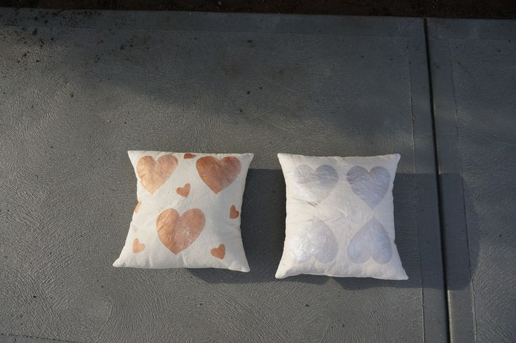 """NEW! """"Copper Heart Plus' + 'Hearts of Silver' cushions, ➕one industrial collection; individually hand painted: eco friendly water based metallic paint : 100% linen: limited edition Hand-painted and handmade by Claire Webber,mHobart, Tasmania webberclaire1@gmail.com"""