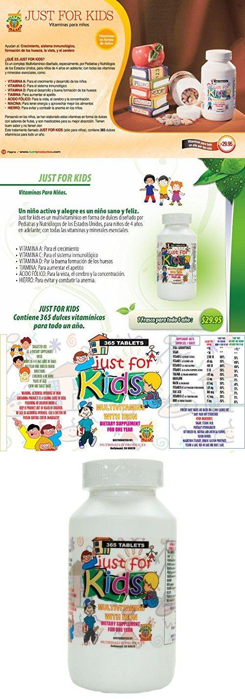 Vitaminas para niños Just for Kids. Suplemento para todo un año.Vitaminas y Minerales para el crecimiento, memoria y apetito en forma de dulce para niños de 4 años en adelante.