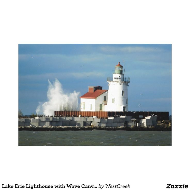 Lake Erie Lighthouse with Wave Canvas Print