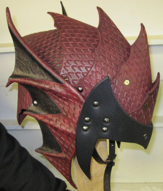 Gothic Dragon Scale leather armor helmet by SharpMountainLeather, $274.99